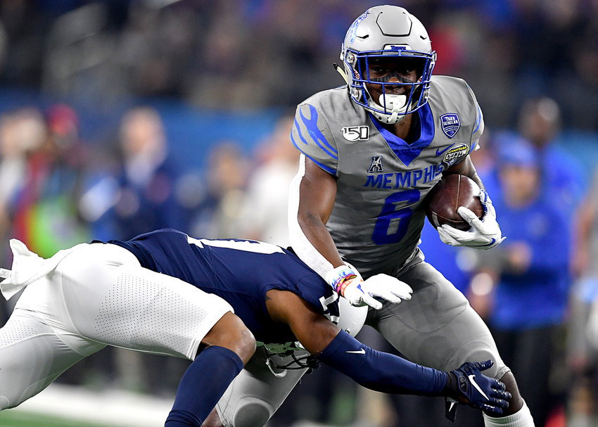 Memphis Tigers running back Patrick Taylor Jr. (6) finds a gap during the first half of the Cotton Bowl NCAA football game against the Penn State Nittany Lions Saturday, Dec. 28, 2019, at AT&T Stadium in Arlington, Texas.