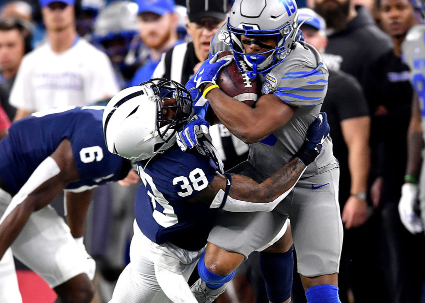 Memphis Tigers running back Kenneth Gainwell (19) with a carry in the first half of the Cotton Bowl NCAA football game against the Penn State Nittany Lions Saturday, Dec. 28, 2019, at AT&T Stadium in Arlington, Texas.
