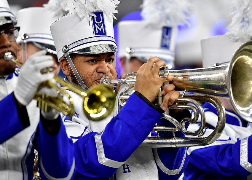 Members of the Mighty Sound of the South, the Memphis Tigers marching band, perform prior to the start of the Cotton Bowl NCAA football game against the Penn State Nittany Lions Saturday, Dec. 28, 2019, at AT&T Stadium in Arlington, Texas.