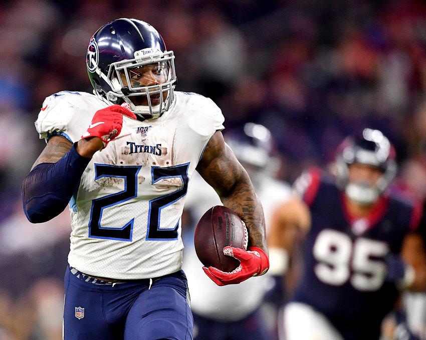 Tennessee Titans running back Derrick Henry (22) on the way to a touchdown in the fourth quarter of an NFL game against the Houston Texans Sunday, Dec. 29, 2019, at NRG Stadium in Houston Texas. This 53-yard run also gave Henry, with 1,540 rushing yards for the season, the title of NFL's leading rusher for 2019.