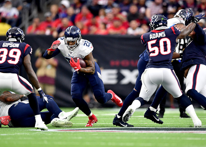 Tennessee Titans running back Derrick Henry (22) in action during the first half of an NFL game against the Houston Texans Sunday, Dec. 29, 2019, at NRG Stadium in Houston Texas.