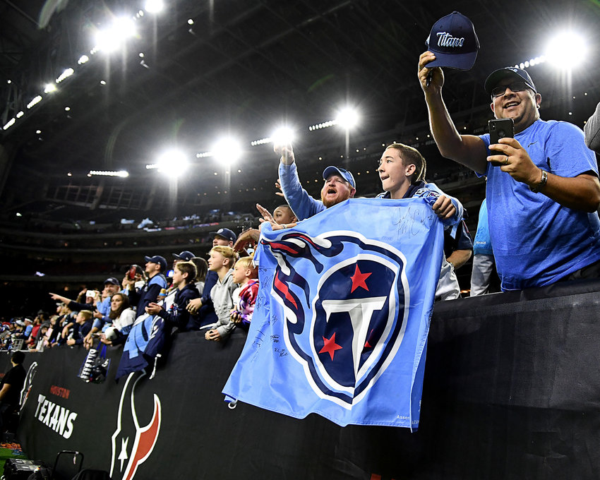 Fans in the stands, following the Tennessee Titans victory over the Houston Texans, Sunday, Dec. 29, 2019, at NRG Stadium in Houston Texas.