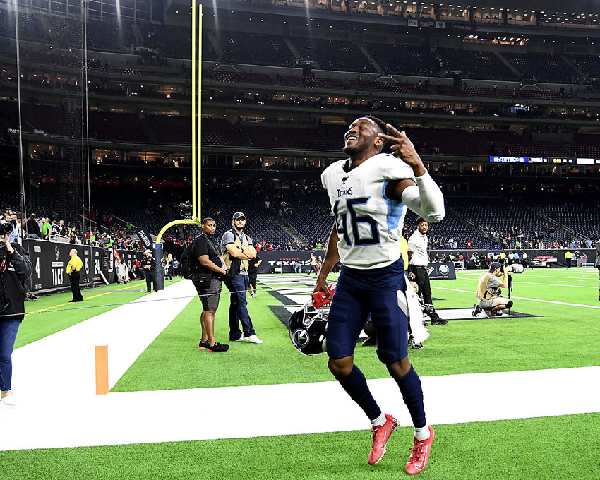 Tennessee Titans defensive back Joshua Kalu (46) leaves the field following the win over the Houston Texans Sunday, Dec. 29, 2019, at NRG Stadium in Houston, Texas.