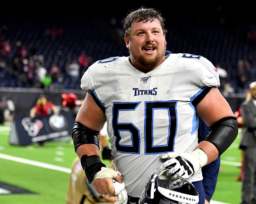 Tennessee Titans center Ben Jones (60) leaves the field following the win over the Houston Texans Sunday, Dec. 29, 2019, at NRG Stadium in Houston, Texas.