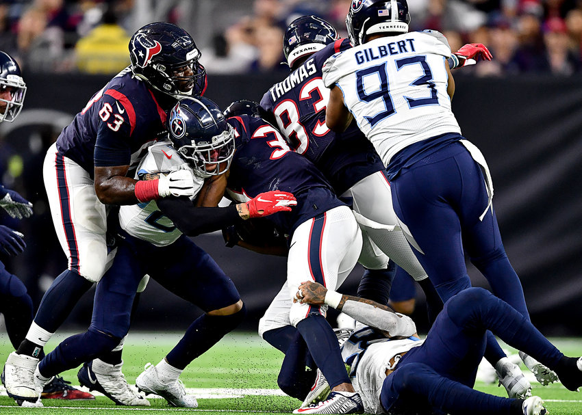 From the second half of an NFL game between the Houston Texans and the Tennessee Titans Sunday, Dec. 29, 2019, at NRG Stadium in Houston, Texas.