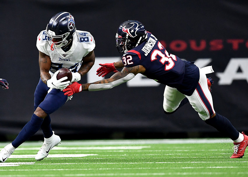 Tennessee Titans wide receiver Corey Davis (84) with a reception that he would almost fumble in the first half of an NFL game against the Houston Texans Sunday, Dec. 29, 2019, at NRG Stadium in Houston Texas.
