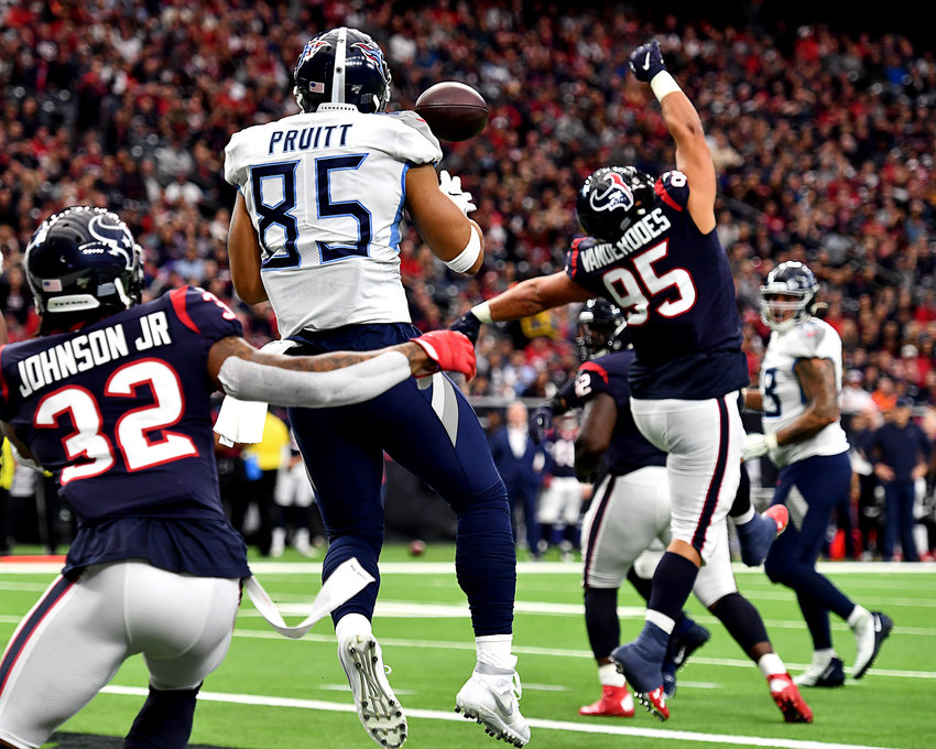 Tennessee Titans tight end MyCole Pruitt (85) with a catch in the end zone for a touchdown in the first half of an NFL game against the Houston Texans Sunday, Dec. 29, 2019, at NRG Stadium in Houston Texas.