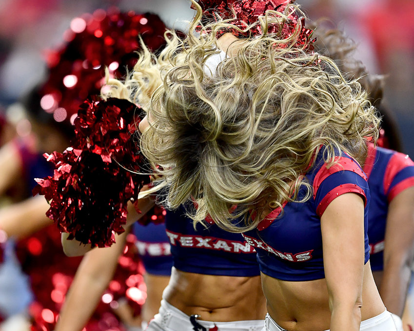 The Houston Texans Cheerleaders perform during the first half of an NFL game between the Texans and the Tennessee Titans Sunday, Dec. 29, 2019, at NRG Stadium in Houston, Texas.