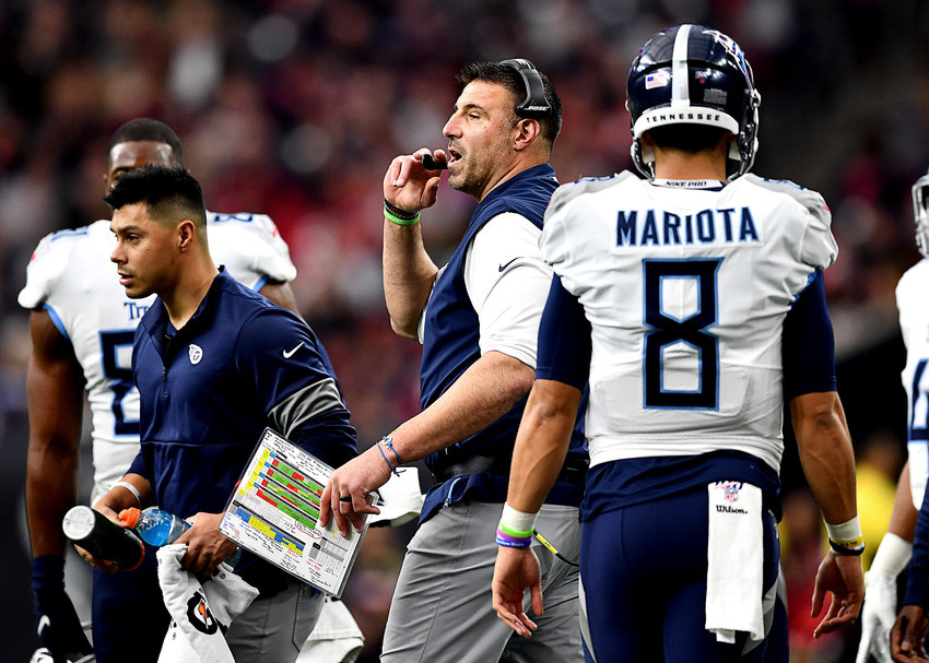Tennessee Titans head coach Mike Vrabel during the first half of an NFL game against the Houston Texans Sunday, Dec. 29, 2019, at NRG Stadium in Houston Texas.