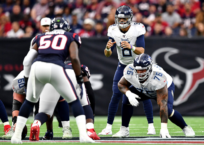 Tennessee Titans quarterback Marcus Mariota (8) makes a brief return to the field during the first half of an NFL game against the Houston Texans Sunday, Dec. 29, 2019, at NRG Stadium in Houston Texas.