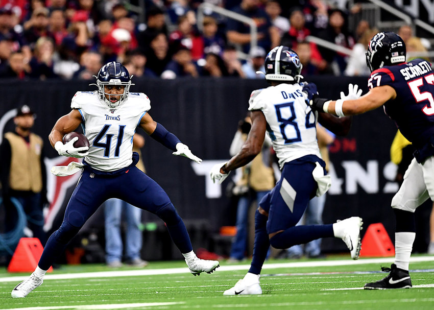 Tennessee Titans running back Khari Blasingame (41) with a catch during the first half of an NFL game against the Houston Texans Sunday, Dec. 29, 2019, at NRG Stadium in Houston Texas.