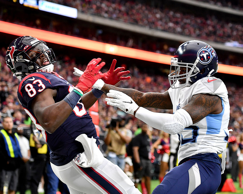 Tennessee Titans defensive back Tramaine Brock (35) breaks up a pass intended for Houston Texans tight end Jordan Thomas (83) in the first half of an NFL game Sunday, Dec. 29, 2019, at NRG Stadium in Houston Texas.
