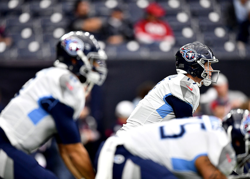 Tennessee Titans quarterback Ryan Tannehill (17) warms up prior to the start of an NFL game against the Houston Texans Sunday, Dec. 29, 2019, at NRG Stadium in Houston Texas.