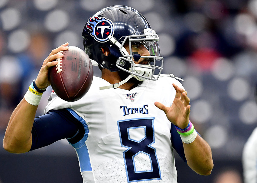 Tennessee Titans quarterback Marcus Mariota (8) warms up prior to an NFL game against the Houston Texans Sunday, Dec. 29, 2019, at NRG Stadium in Houston, Texas.