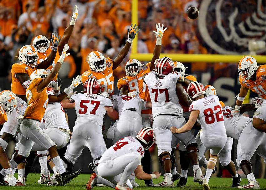 The Indiana Hoosiers attempt, but miss, a field goal in the closing minutes of their one-point loss to the Tennessee Volunteers in the Gator Bowl Thursday, January 2, 2020, at TIAA Bank Field in Jacksonville, Fla.