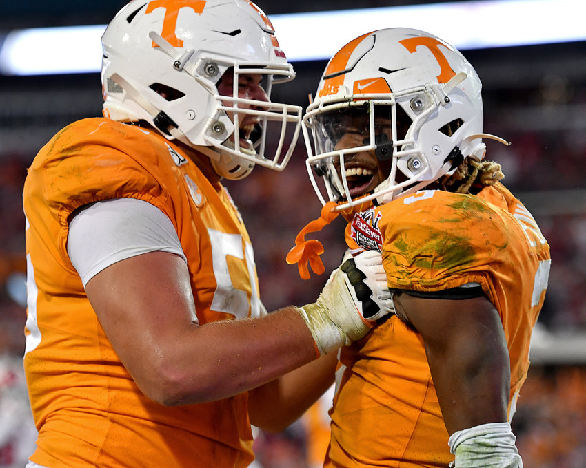 Tennessee Volunteers running back Eric Gray (3) celebrates his game-winning touchdown in the fourth quarter of the Gator Bowl NCAA football game against the Indiana Hoosiers Thursday, January 2, 2020, at TIAA Bank Field in Jacksonville, Fla.