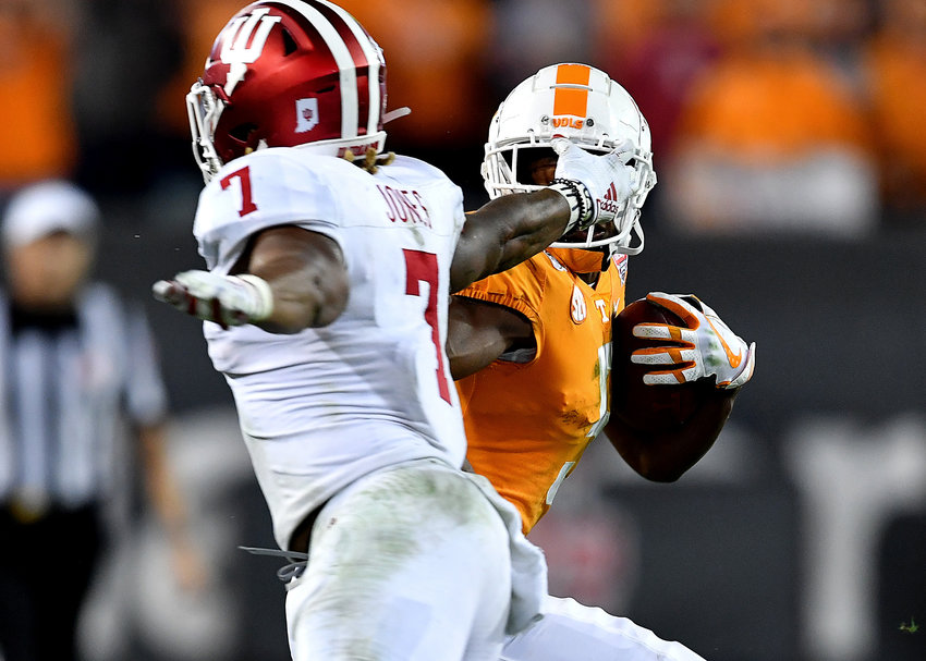 Indiana Hoosiers linebacker Reakwon Jones (7) is called for a face-mask on Tennessee Volunteers wide receiver Josh Palmer (5) during the second half of the Gator Bowl NCAA football game Thursday, January 2, 2020, at TIAA Bank Field in Jacksonville, Fla.