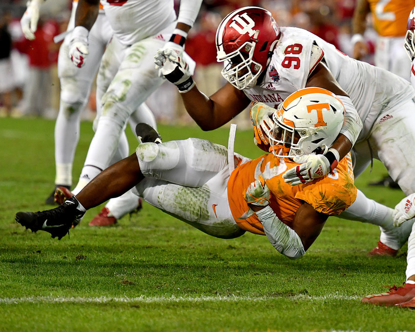 Tennessee Volunteers running back Eric Gray (3) is tackled as he nears the end zone during the second half of the Gator Bowl NCAA football game against the Indiana Hoosiers Thursday, January 2, 2020, at TIAA Bank Field in Jacksonville, Fla.