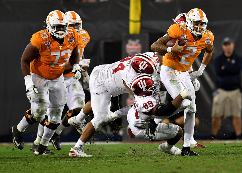 Tennessee Volunteers quarterback Jarrett Guarantano (2) on a keeper in the second half of the Gator Bowl NCAA football game against the Indiana Hoosiers Thursday, January 2, 2020, at TIAA Bank Field in Jacksonville, Fla.