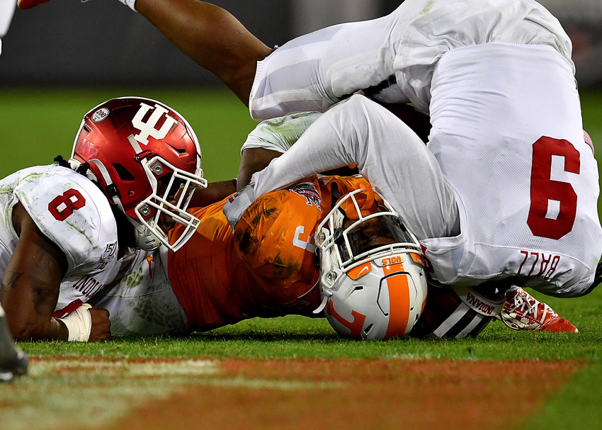 Indiana Hoosiers defensive back Marcelino Ball (9) tackles Tennessee Volunteers running back Eric Gray (3) in the second half of the Gator Bowl NCAA football game Thursday, January 2, 2020, at TIAA Bank Field in Jacksonville, Fla.