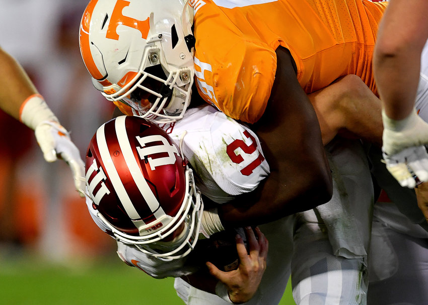 Tennessee Volunteers defensive lineman Matthew Butler (94) sacks Indiana Hoosiers quarterback Peyton Ramsey (12) in the first half of the Gator Bowl NCAA football game Thursday, January 2, 2020, at TIAA Bank Field in Jacksonville, Fla.