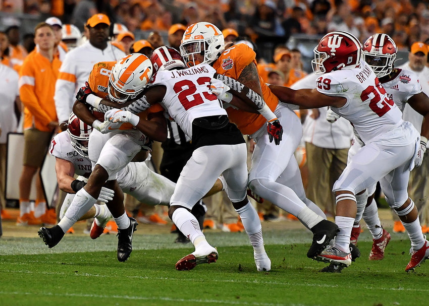 Tennessee Volunteers running back Ty Chandler (8) on a run in the first half of the Gator Bowl NCAA football game against the Indiana Hoosiers Thursday, January 2, 2020, at TIAA Bank Field in Jacksonville, Fla.
