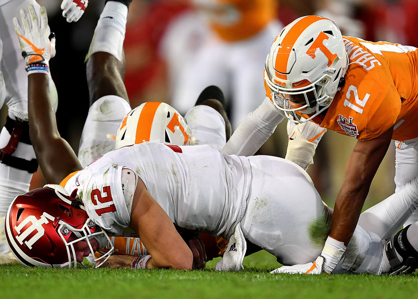 Tennessee Volunteers defensive back Shawn Shamburger (12) sacks Indiana Hoosiers quarterback Peyton Ramsey (12) in the first half of the Gator Bowl NCAA football game Thursday, January 2, 2020, at TIAA Bank Field in Jacksonville, Fla.