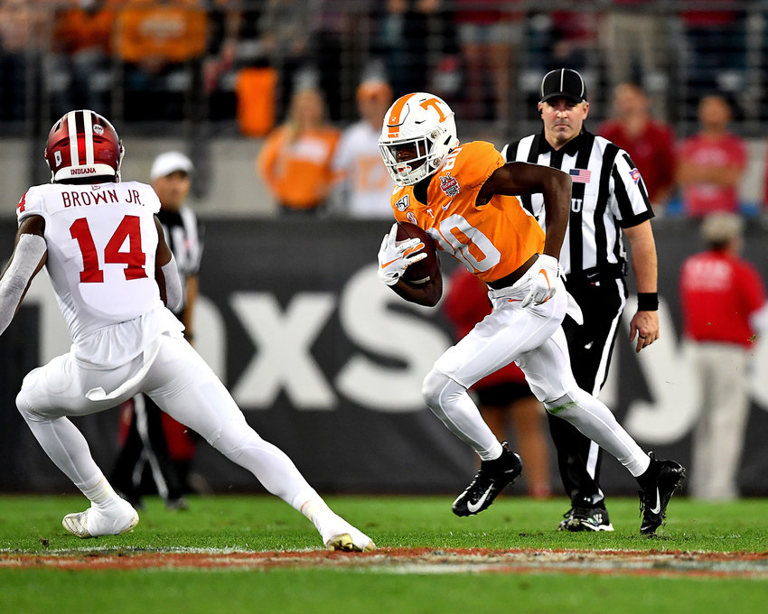 Tennessee Volunteers wide receiver Ramel Keyton (80) adds yards after the catch during the first half of the Gator Bowl NCAA football game against the Indiana Hoosiers Thursday, January 2, 2020, at TIAA Bank Field in Jacksonville, Fla.