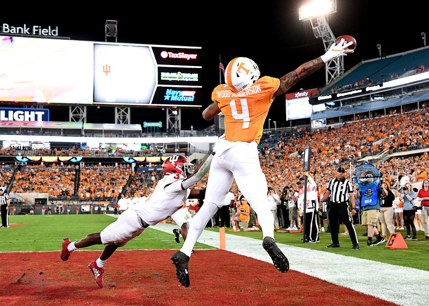 Tennessee Volunteers tight end Dominick Wood-Anderson (4) can't make the grab on an overthrow pass to the end zone during the first half of the Gator Bowl NCAA football game against the Indiana Hoosiers Thursday, January 2, 2020, at TIAA Bank Field in Jacksonville, Fla.