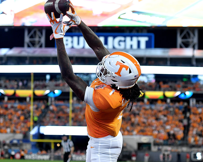 Tennessee Volunteers wide receiver Marquez Callaway (1) reaches for a pass in the end zone but can't quite get it during the first half of the Gator Bowl NCAA football game against the Indiana Hoosiers Thursday, January 2, 2020, at TIAA Bank Field in Jacksonville, Fla.