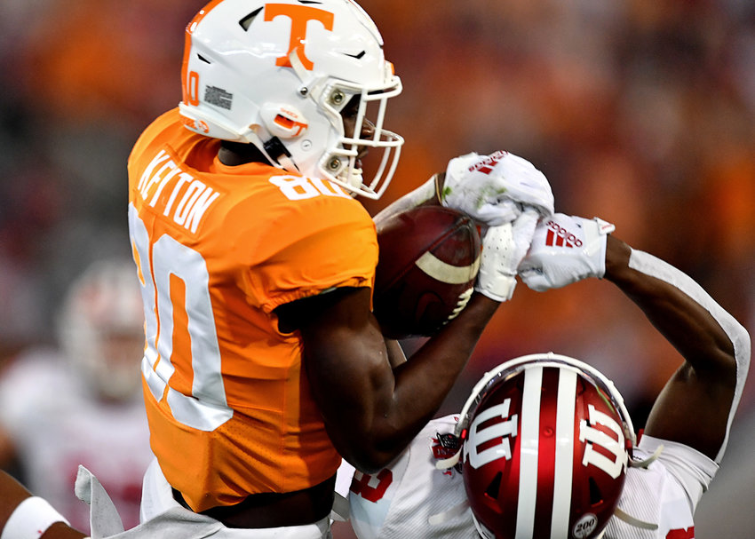 Tennessee Volunteers wide receiver Ramel Keyton (80) battles for the ball and comes up the winner during the first half of the Gator Bowl NCAA football game against the Indiana Hoosiers Thursday, January 2, 2020, at TIAA Bank Field in Jacksonville, Fla.