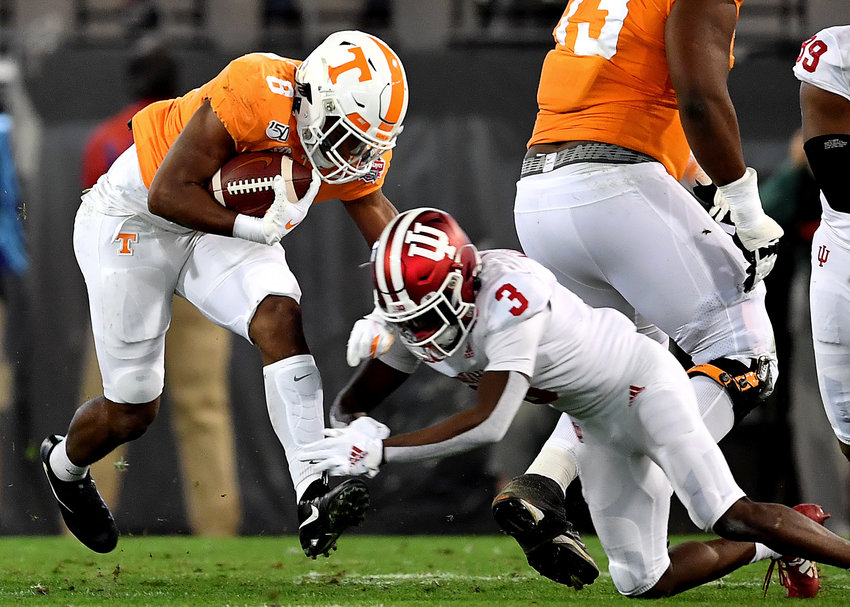 Tennessee Volunteers running back Ty Chandler (8) in action during the first half of the Gator Bowl NCAA football game against the Indiana Hoosiers Thursday, January 2, 2020, at TIAA Bank Field in Jacksonville, Fla.