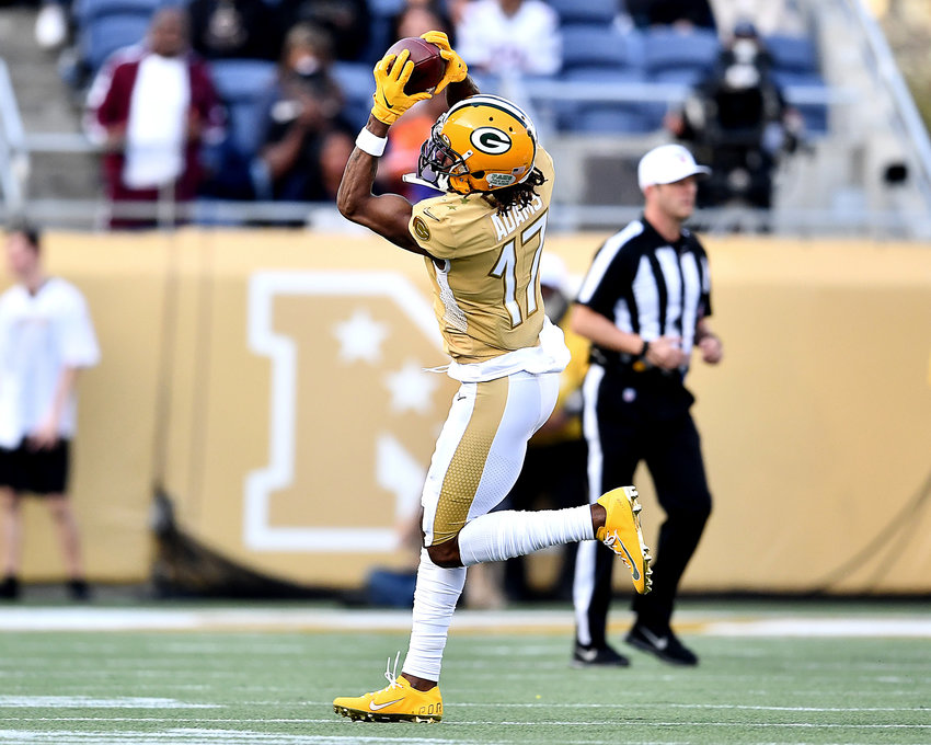 Green Bay Packers wide receiver Davante Adams (17) makes the catch in the second half of the 2020 NFL Pro Bowl football game between the AFC and NFC, Sunday, Jan. 26, 2020, at Camping World Stadium in Orlando, Fla.