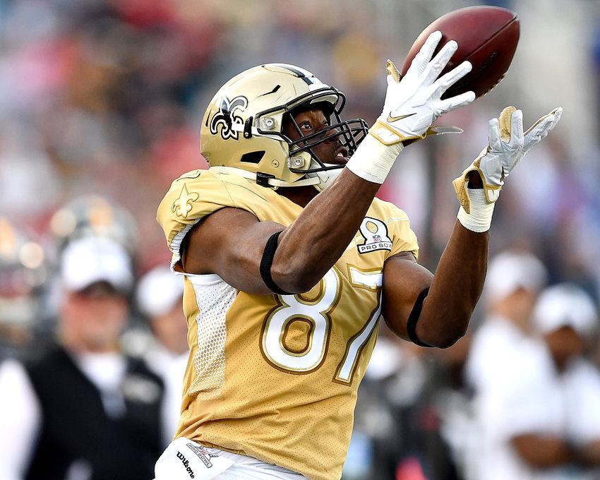 New Orleans Saints tight end Jared Cook (87) with a beautiful catch in the second half of the 2020 NFL Pro Bowl football game between the AFC and NFC, Sunday, Jan. 26, 2020, at Camping World Stadium in Orlando, Fla.