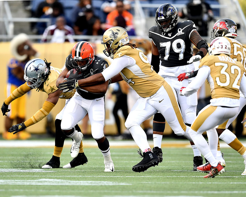 Cleveland Browns running back Nick Chubb (24) with a carry in the second half of the 2020 NFL Pro Bowl football game between the AFC and NFC, Sunday, Jan. 26, 2020, at Camping World Stadium in Orlando, Fla.