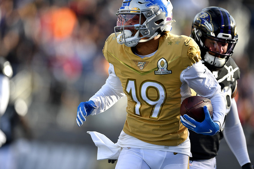 Detroit Lions wide receiver Kenny Golladay (19) with a big reception in the first half of the 2020 NFL Pro Bowl football game between the AFC and NFC, Sunday, Jan. 26, 2020, at Camping World Stadium in Orlando, Fla.