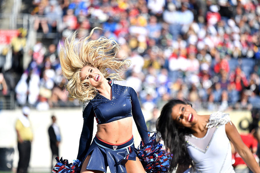 The Tennessee Titans Pro Bowl cheerleader performs during the first half of the 2020 NFL Pro Bowl football game between the AFC and NFC, Sunday, Jan. 26, 2020, at Camping World Stadium in Orlando, Fla.