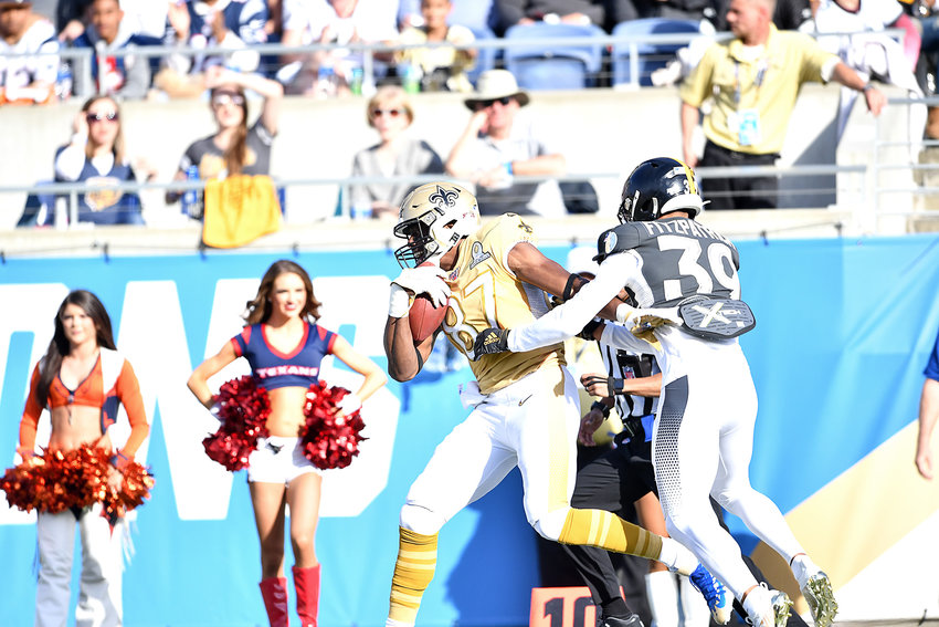 New Orleans Saints tight end Jared Cook (87) with a catch during the first half of the 2020 NFL Pro Bowl football game between the AFC and NFC, Sunday, Jan. 26, 2020, at Camping World Stadium in Orlando, Fla.