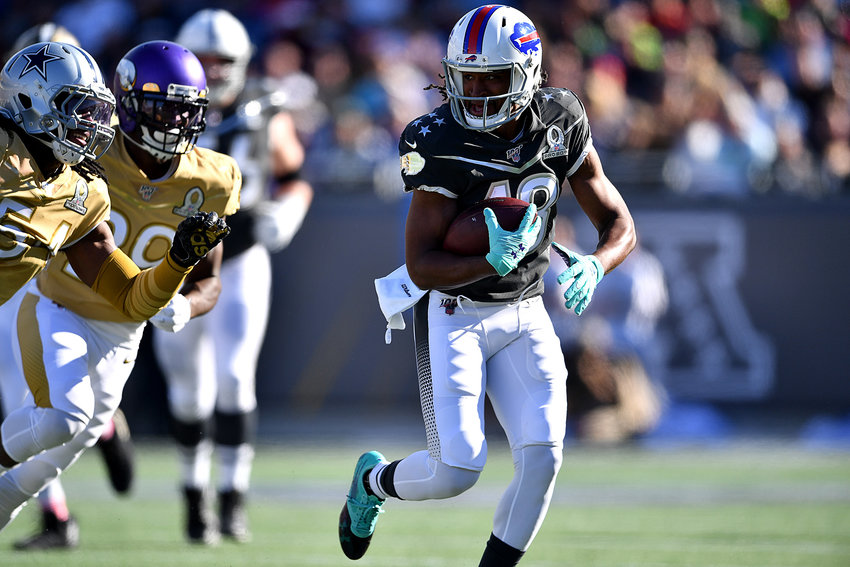 Buffalo Bills return specialist Andre Roberts (18) in actiong during the first half of the 2020 NFL Pro Bowl football game between the AFC and NFC, Sunday, Jan. 26, 2020, at Camping World Stadium in Orlando, Fla.