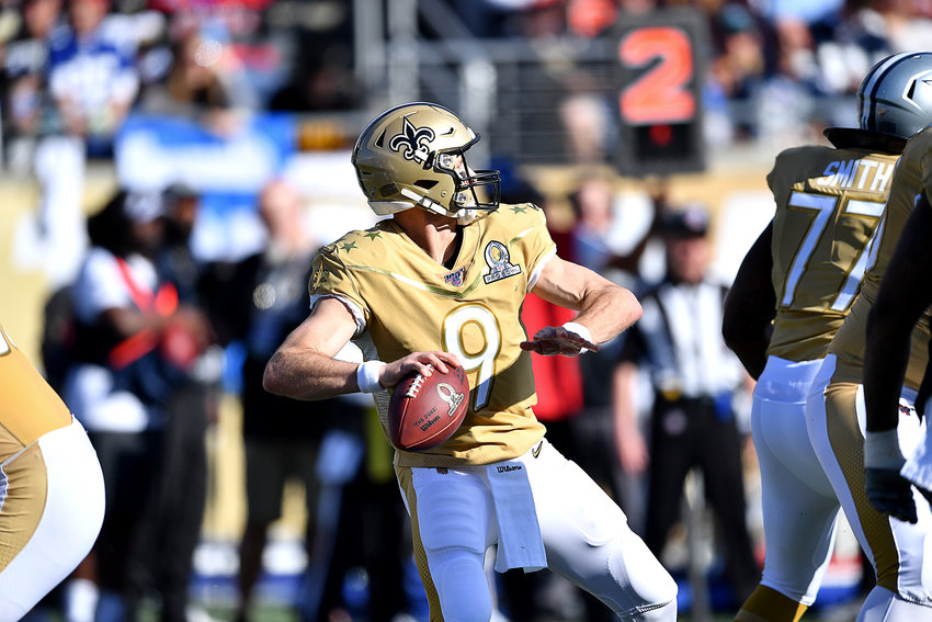New Orleans Saints quarterback Drew Brees (9) drops back to pass in the first half of the 2020 NFL Pro Bowl football game between the AFC and NFC, Sunday, Jan. 26, 2020, at Camping World Stadium in Orlando, Fla.