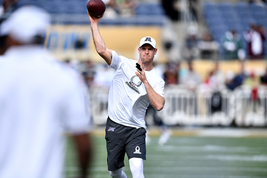Tennessee Titans quarterback Ryan Tannehill (17) warms up prior to the 2020 NFL Pro Bowl football game between the AFC and NFC, Sunday, Jan. 26, 2020, at Camping World Stadium in Orlando, Fla.