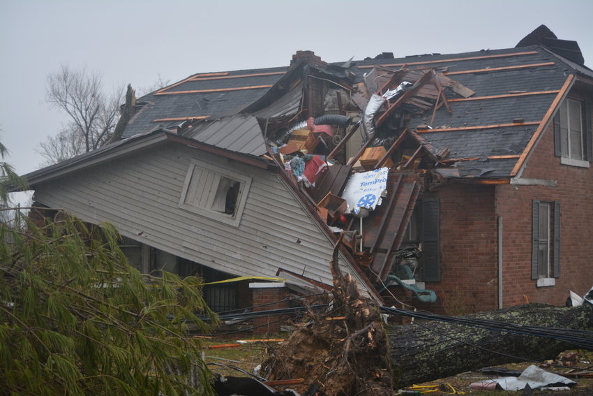 A home on Highway 70 West across from the doll museum is among those destroyed in an early morning tornado in Putnam County