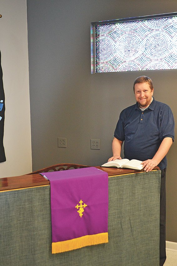 United Church of Cookeville member Brian Wilmoth prepares for a service.
