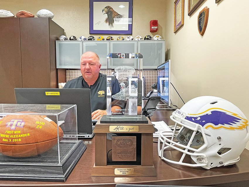 Tennessee Tech head football coach Dewayne Alexander answers questions during the OVC's virtual media day.