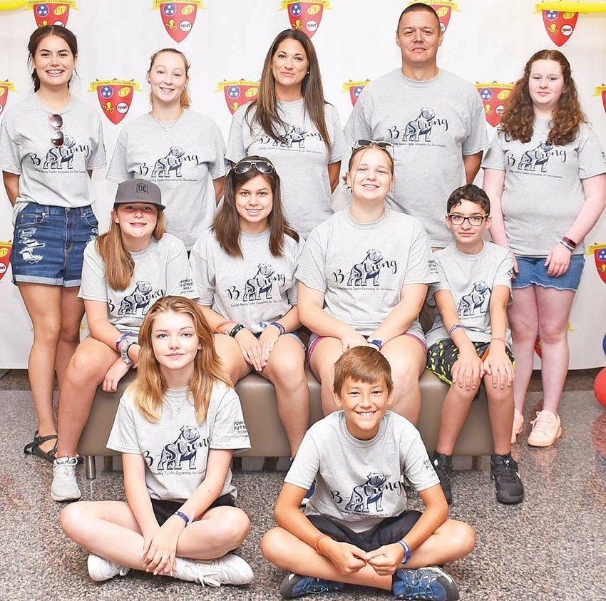 TN Teen Institute participants include, in front, from left, Emily Hudson, Lucas Janko; middle row, Meagan Wettack, Ellie Daniels, Terra Lynn Pile, Rolan Frye; back row, Rebekah Manier, Camelia Martin w/ Power of Putnam, Stefanie Janko PSMS teacher and advisor, Sgt. Mike Herrick – Cookeville PD, Ciara Oldham.