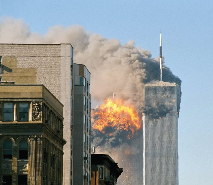 United Airlines Flight 175 hits the south tower of the World Trade Center on 9/11.