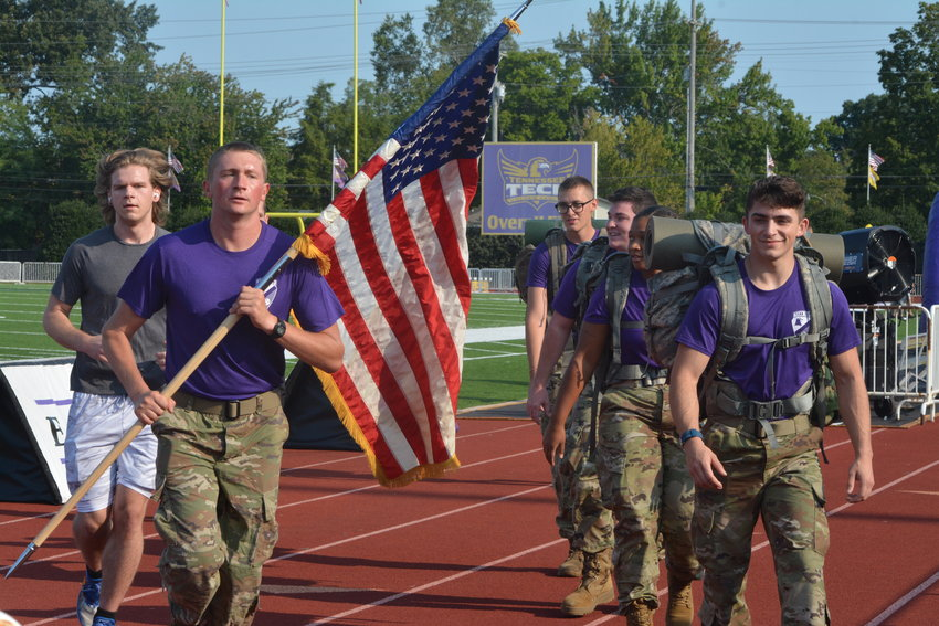 Tennessee Tech ROTC members and citizens observed the tragic 9/11 attack with a stadium run on its 20th anniversary Saturday.  Pictured is Warren Karns and Zachary Kendall leading the group.