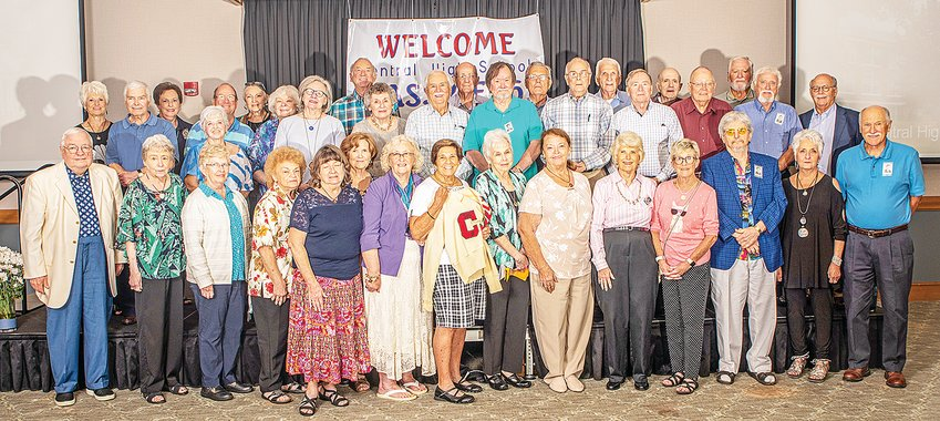 The 60th Reunion of the Central High School, Class of 1961 was held Saturday, Aug. 28, 2021 at the Leslie Town Centre.  Front row, from left:  Horace Burks,  Mary Nann Terry Guess,  Rebecca Paris Tolbert,  Thelma Jackson Sutton,  Geneva Bean Bryant,  Ruby Haney Looper,  Ruth Gillentine Apple,  Phyllis Stamps,  Mary Lou Allen Flatt,  Sharon Young Massa,  Linda Leftwich Hughes,  Janet Masters Lowe,  Jack Stewart,  Patsy Gentry Judd and Tommy White; 2nd row: Charles Bush,  Sandra Crawford Chisolm,  Linda Kay Dyer Doran,  Penny Bilbrey Hooper,  Melvin Maxwell,  Roy Spurlock,  Mike Medley,  Bobby Bumbalough,  Fred Warden, Ray Brady and  Earl Whittaker; 3rd row: Clydean Peek Butler,  Fay Pinkston Borden,  Jerry Cass,  Dianne Spicer Hire,  Donna Jared Austin,  Jackie Farris,  Marvin Dyer,  Kenneth Thomas,  Charles Beaty,  Jerry Maynard and  Roy Helms. In addition, classmates Donald Campbell,  Janet Mott Wright and  Virginia Norris Moore also attended the reunion.