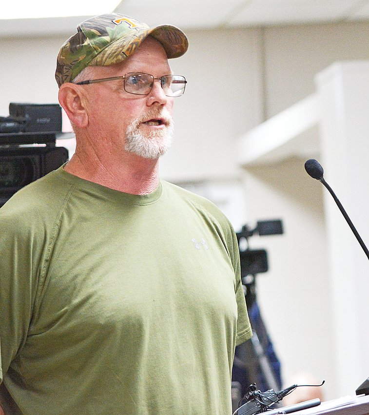 Lifelong White County resident and hunter of the public lands at the Bridgestone Firestone Centennial Wilderness Wildlife Management Area addresses the panel of TWRA members and partnering agencies.