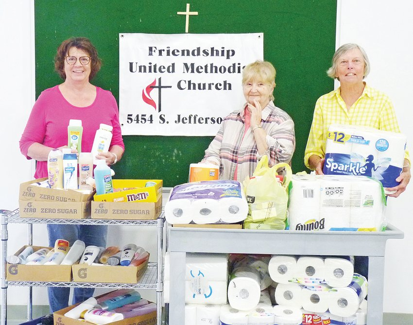 Friendship United Methodist Church members collected personal hygiene items and paper towels for the Genesis House, a non-profit agency in Cookeville that provides support and shelter for victims of domestic and sexual violence. From left, church members Shelly Kinnaird, Marie Bulakowski and Rosemary Allen.